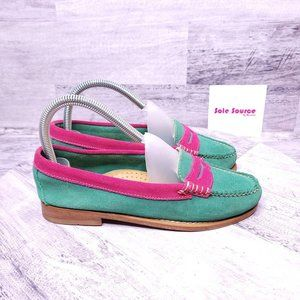 Weejuns Suede Penny Loafers Green Pink  Women's sz 6.5